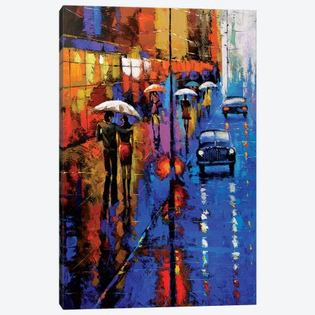 Blue Taxi Canvas Print #DMT25} by Dmitry Spiros Art Print