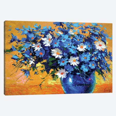 Bouquet Of Cornflowers Canvas Print #DMT32} by Dmitry Spiros Canvas Art Print