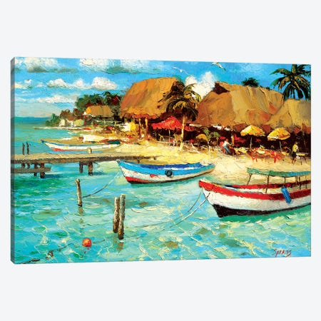 Coastal Cafe Canvas Print #DMT43} by Dmitry Spiros Canvas Art