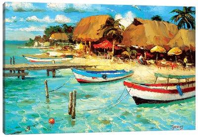 Coastal Cafe Canvas Art Print