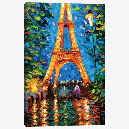 Eiffel Tower At Night Canvas Print #DMT52} by Dmitry Spiros Canvas Art Print