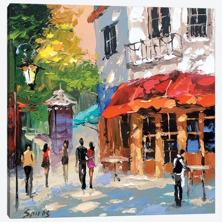 At The Cafe Morning Canvas Print #DMT6} by Dmitry Spiros Canvas Print