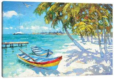 Fishing Boats On The Beach Canvas Art Print