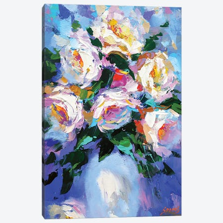 Flowers In A White Vase Canvas Print #DMT73} by Dmitry Spiros Canvas Print