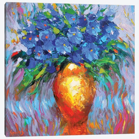 Flowers In Yellow Vase Canvas Print #DMT76} by Dmitry Spiros Canvas Art