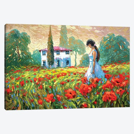 Girl And Poppies Canvas Print #DMT82} by Dmitry Spiros Canvas Wall Art