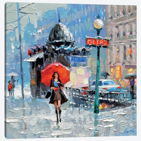 Girl With Red Umbrella Canvas Print #DMT83} by Dmitry Spiros Canvas Wall Art