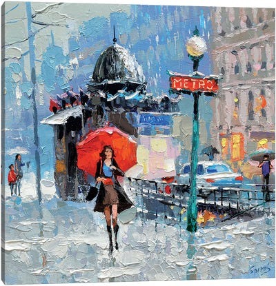 Girl With Red Umbrella Canvas Art Print