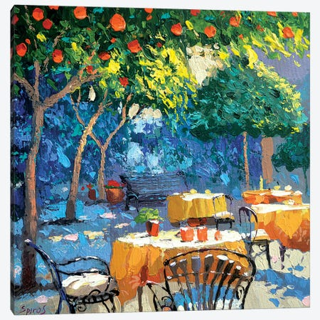 In The Shade Of Cafe Canvas Print #DMT92} by Dmitry Spiros Canvas Print