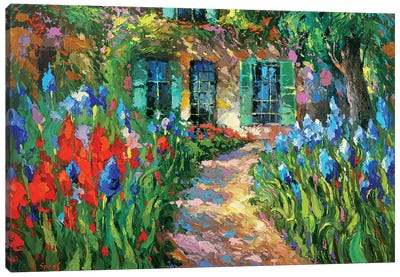 Irises Near The House Canvas Art Print