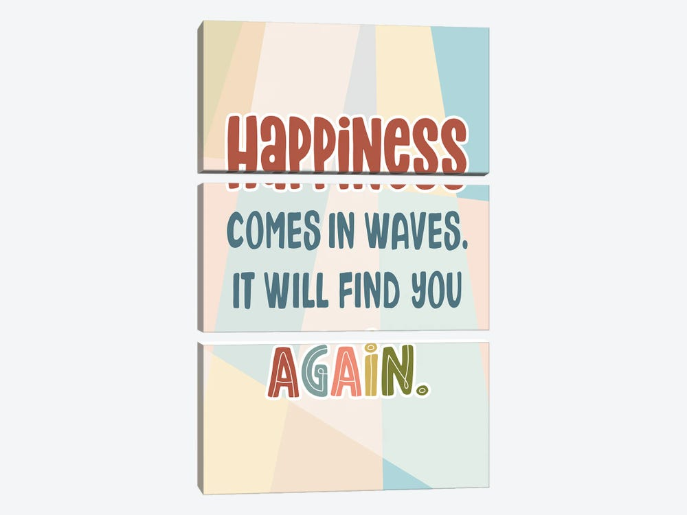 Happiness Again by Delores Naskrent 3-piece Canvas Wall Art