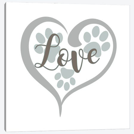 Love with Paws Canvas Print #DNA67} by Delores Naskrent Canvas Wall Art