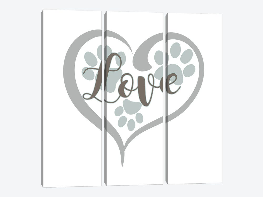 Love with Paws by Delores Naskrent 3-piece Canvas Artwork