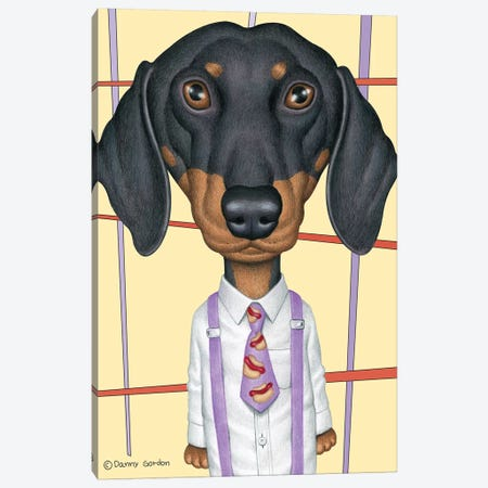 Dachshund Wearing Tie With Lines Canvas Print #DNG113} by Danny Gordon Art Print
