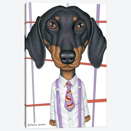 Dachshund Wearing Tie With Lines On White Canvas Print #DNG114} by Danny Gordon Canvas Artwork