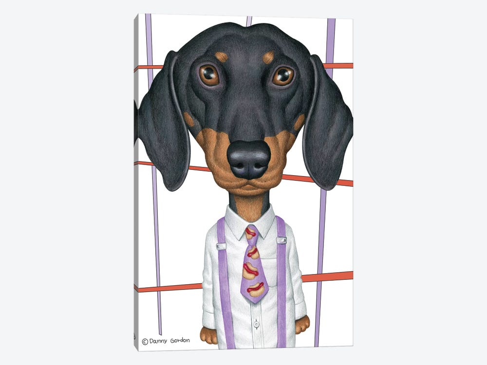 Dachshund Wearing Tie With Lines On White by Danny Gordon 1-piece Canvas Artwork