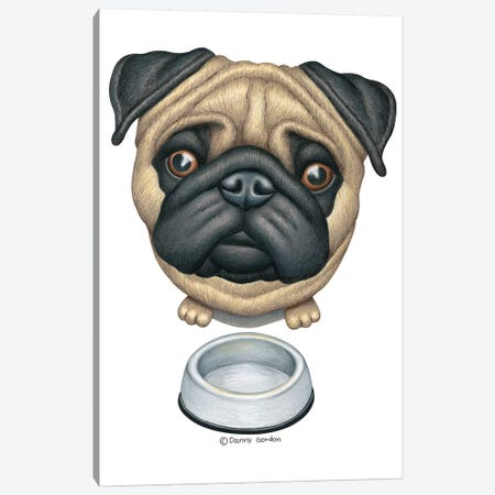 Pug Near Dog Bowl Canvas Print #DNG127} by Danny Gordon Canvas Print