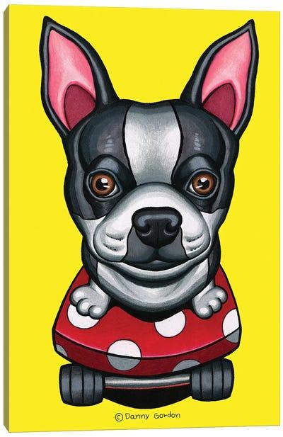 Boston Terrier Skateboard Canvas Art Print