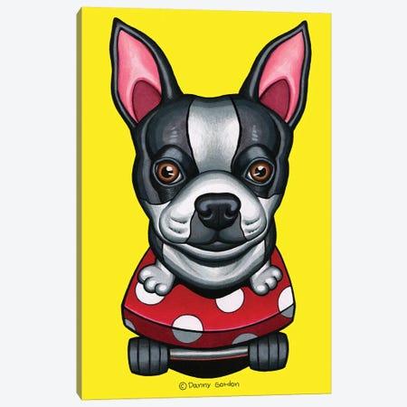 Boston Terrier Skateboard Canvas Print #DNG128} by Danny Gordon Canvas Art