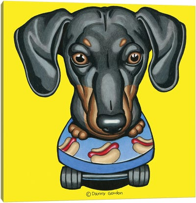 Dachshund Hotdog Skateboard Canvas Art Print