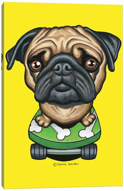 Pug Bones Skateboard Canvas Art Print