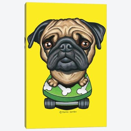 Pug Bones Skateboard Canvas Print #DNG134} by Danny Gordon Canvas Art