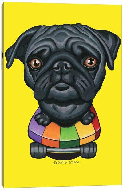 Pug Stripes Skateboard Canvas Art Print