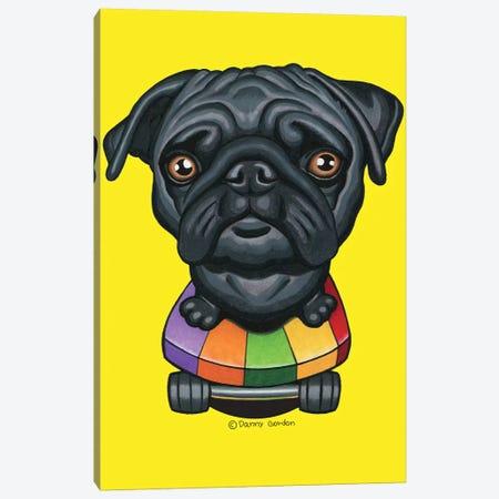 Pug Stripes Skateboard Canvas Print #DNG135} by Danny Gordon Canvas Wall Art
