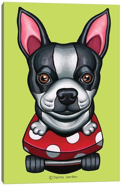 Boston Terrier Skateboard Lime Canvas Art Print