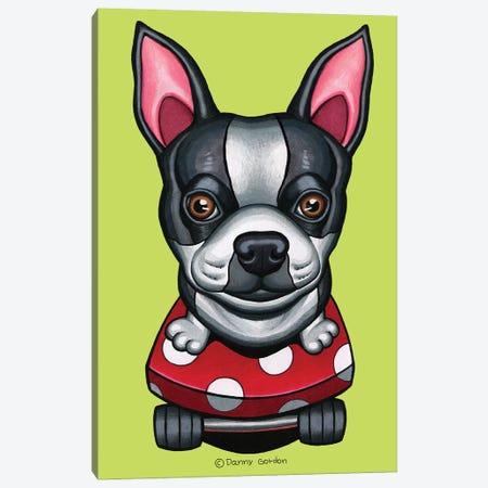 Boston Terrier Skateboard Lime Canvas Print #DNG136} by Danny Gordon Canvas Artwork
