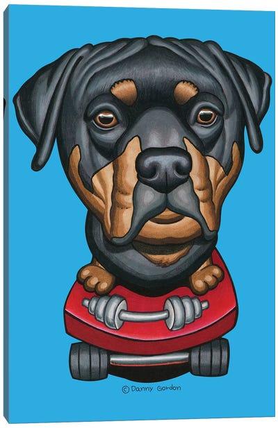 Rottweiler Skateboard Dumbells Canvas Art Print