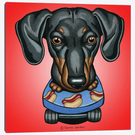 Dachshund Skateboard Radial Red Canvas Print #DNG138} by Danny Gordon Canvas Art Print