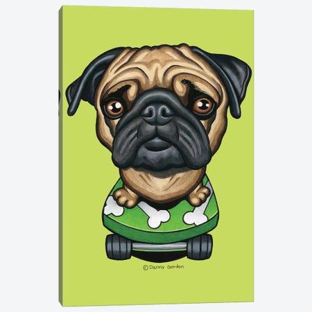 Pug Skateboard Bones Lime Canvas Print #DNG140} by Danny Gordon Canvas Art