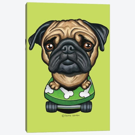 Pug Skateboard Bones Lime Canvas Print #DNG140} by Danny Gordon Canvas Art