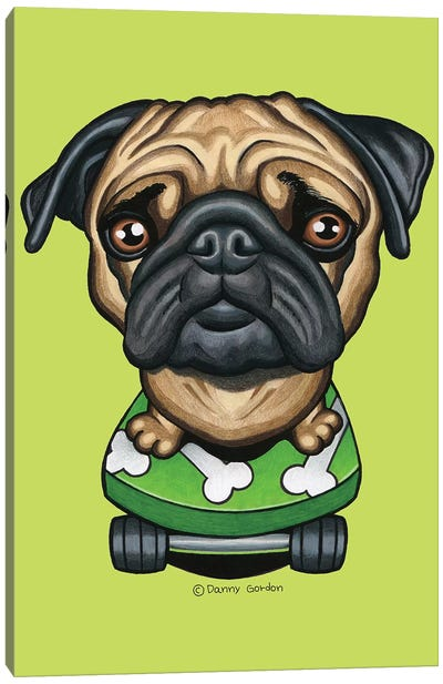 Pug Skateboard Bones Lime Canvas Art Print