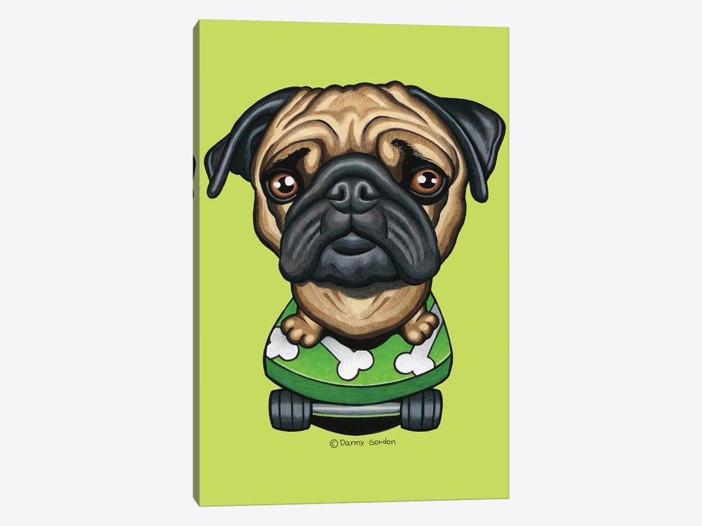 Pug Skateboard Bones Lime by Danny Gordon 1-piece Canvas Art Print