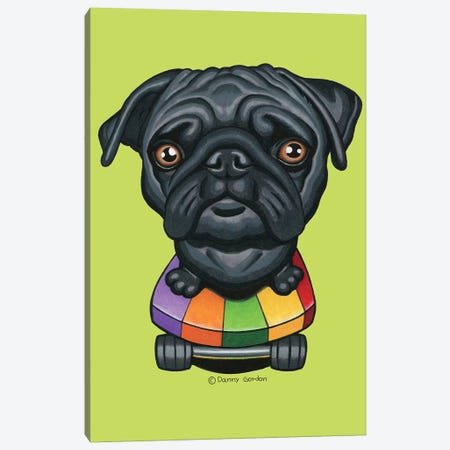 Pug Skateboard Stripes Lime Canvas Print #DNG141} by Danny Gordon Canvas Wall Art