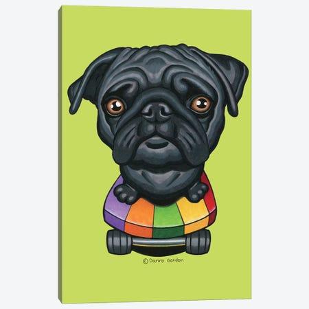 Pug Skateboard Stripes Lime Canvas Print #DNG141} by Danny Gordon Canvas Wall Art