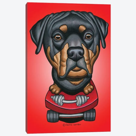 Rottweiler Skateboard Dumbell Radial Red Canvas Print #DNG142} by Danny Gordon Canvas Artwork