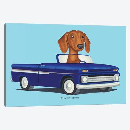Dachshund Blue Truck Blue Canvas Print #DNG143} by Danny Gordon Canvas Art