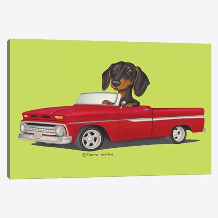 Dacshund Red Truck Lime Canvas Print #DNG144} by Danny Gordon Canvas Print