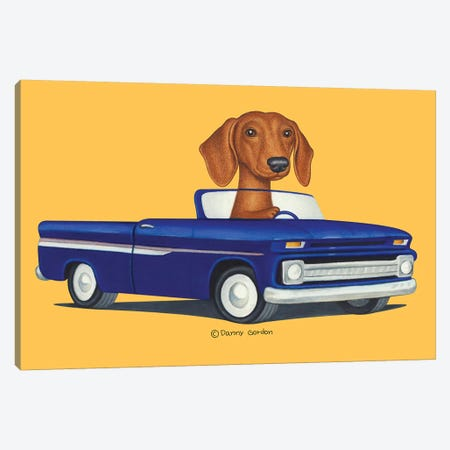 Dachshund Blue Truck Orange Canvas Print #DNG145} by Danny Gordon Art Print