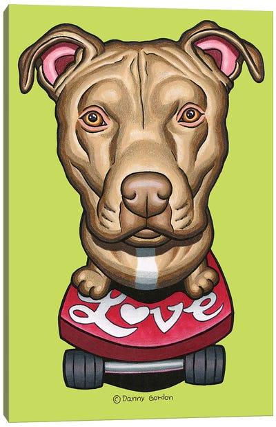 Pit Bull Skateboard Love Canvas Art Print