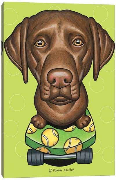 Labrador Retriever Skateboard Lime Canvas Art Print