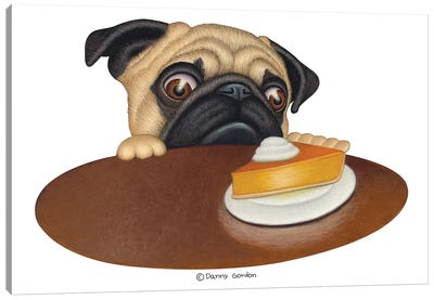 Pug With Pie No Sign Canvas Art Print