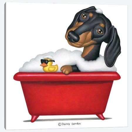Black Dachshund In Red Tub 3-Piece Canvas #DNG153} by Danny Gordon Canvas Art Print