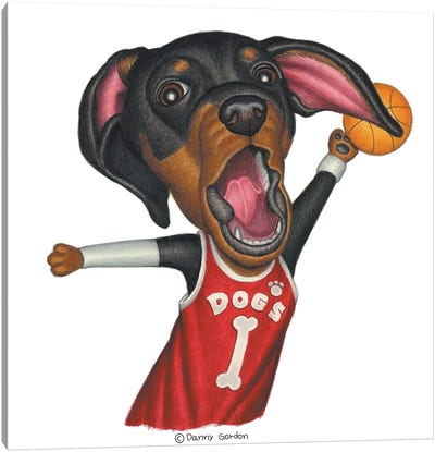 Dachshund Basketballer Canvas Art Print