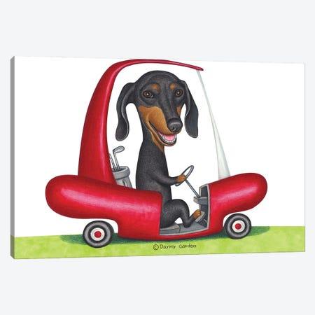 Black Dachshund in Golf Cart Canvas Print #DNG157} by Danny Gordon Canvas Art