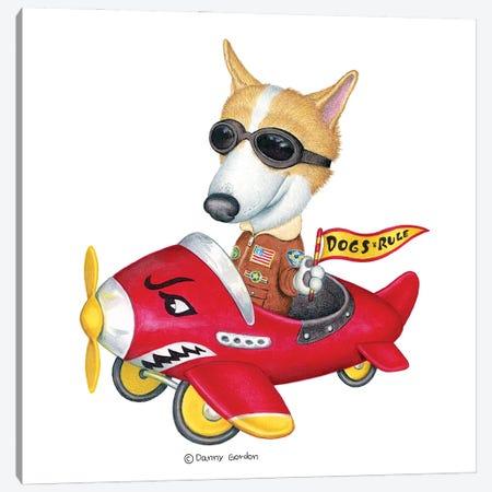 Corgi in Red Plane Canvas Print #DNG158} by Danny Gordon Canvas Art Print