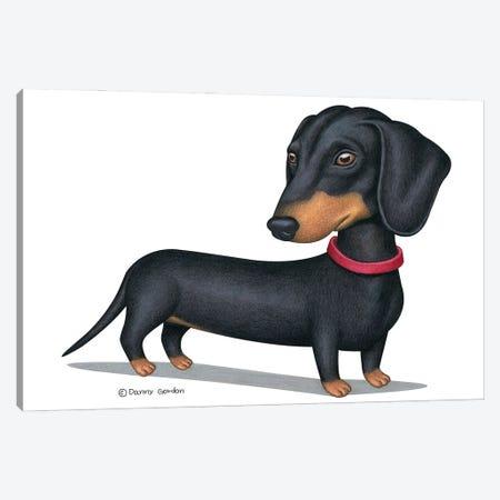 Black Dachshund Red Collar 3-Piece Canvas #DNG159} by Danny Gordon Canvas Print